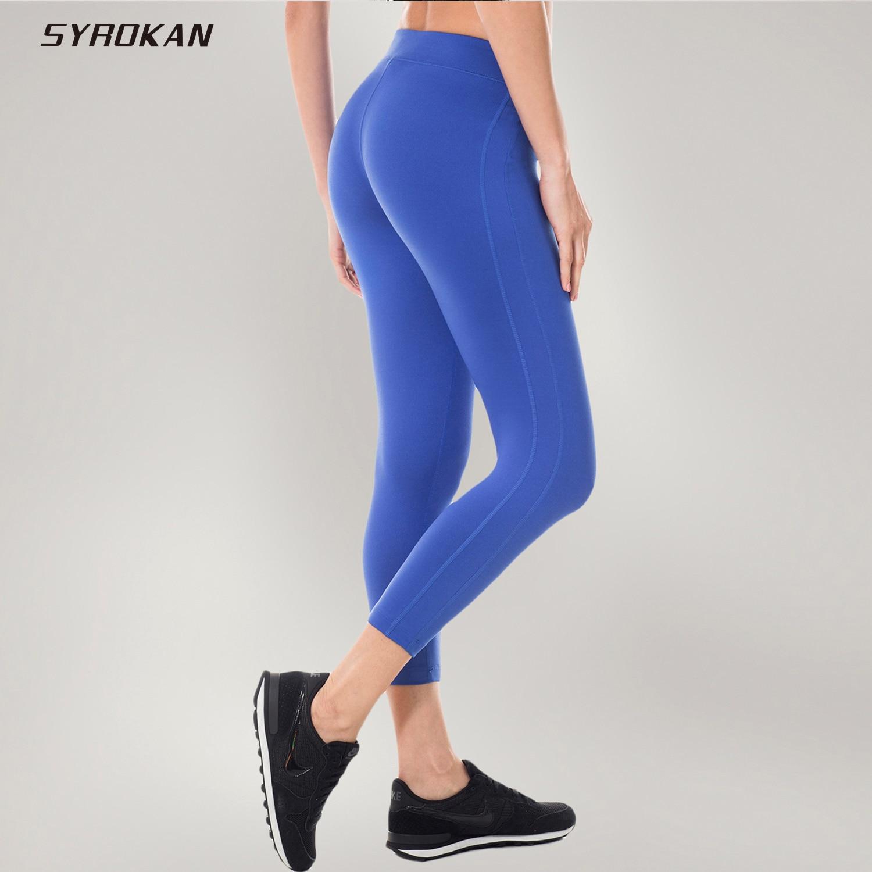 SYROKAN Women's Activewear Running Workout Sports Capri Tight Fit Leggings Pants