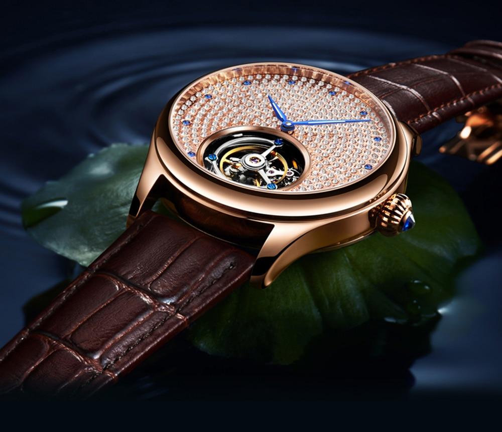 2019 Real Tourbillon Mechanical Hand Wind Sapphire Mens Watches Top Brand Luxury Rhinestone Clock men Gold Relogio Masculino 6