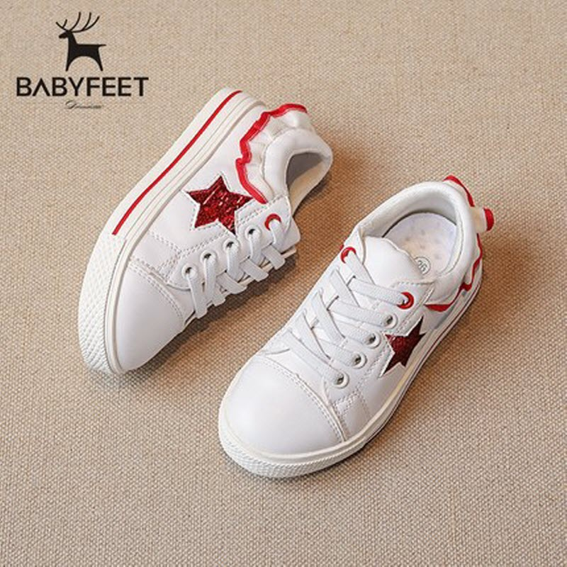 Babyfeet Children kids shoes White PU Leather Star baby Boy girl sneakers shoes tenis infantil chaussure enfant calzado infantil 2016 brand children shoes bebe leather flower patter spliced shoelace girls baby first walkers sneakers shoes tenis bebe kids