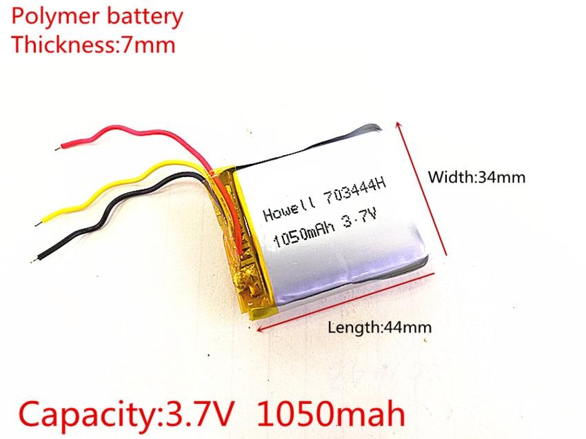 3 line 3.7V 1050mAh Rechargeable li Polymer Li-ion Battery For headphones tachograph MODEL SP5 mp3 mp4 GPS 703444 073444 mallper replacement 3 7v 1050mah li ion battery for htc g1 dream more orange