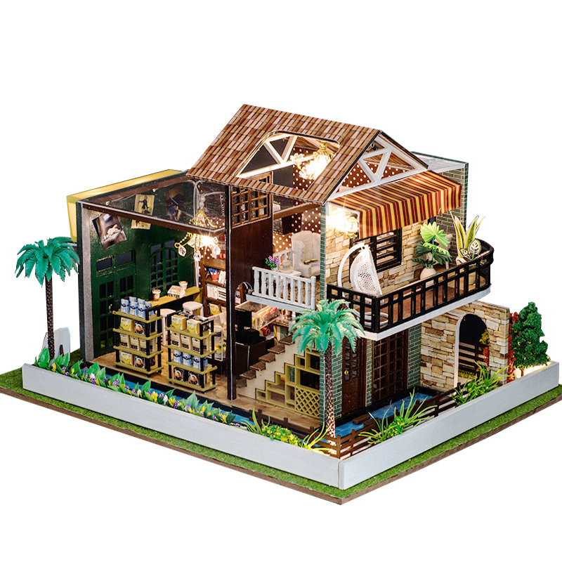 DIY Doll Houses Miniature 3D Wooden Doll House Miniature dollhouse Furniture Kit Toys for Children Christmas Gifts Coffee House недорого
