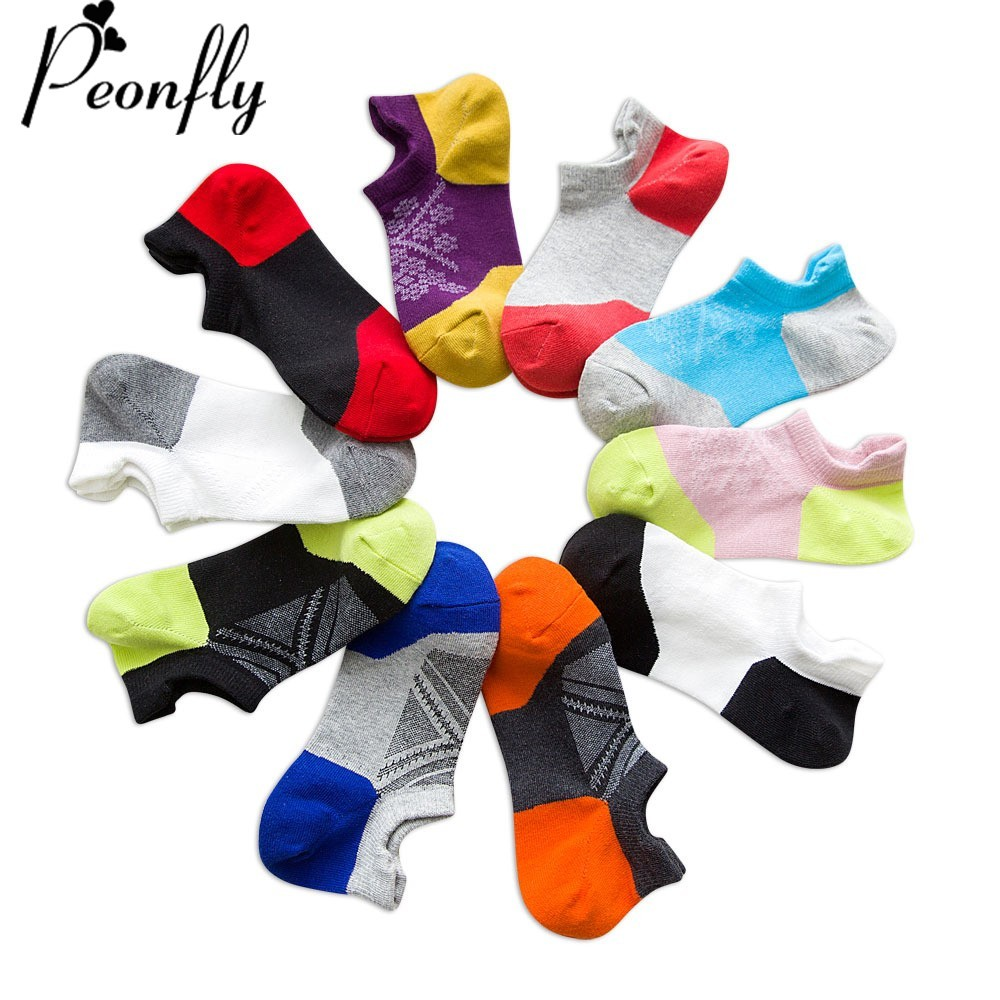 PEONFLY Men Cotton Ankle Socks Male Business Casual Colorful Stitching Fashion Geometric Pattern Socks Breathable Short Socks