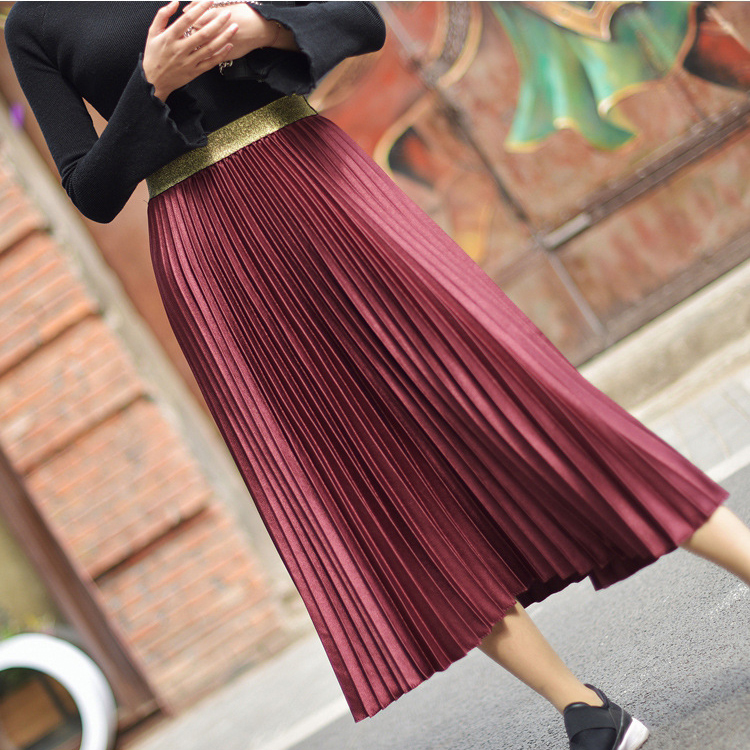 Stretch High Waist Long Pleated Skirt 6