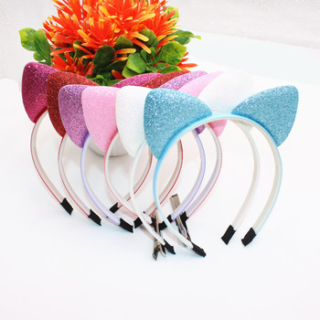 Cute Girls Hair Bands Glisten Cat Ears Headband Beautiful Solid Color Stretch Kids Headbands Hair Accessories
