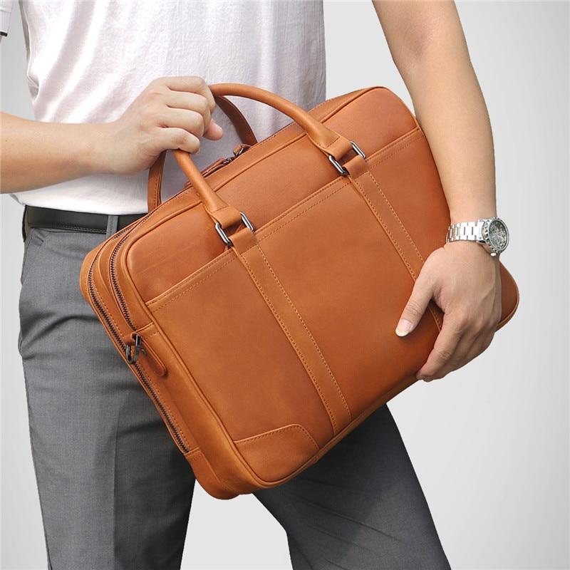 Nesitu Black Brown Large Capacity Genuine Leather Men Briefcase Portfolio Messenger Bags 14'' Laptop Business Travel Bag M7348