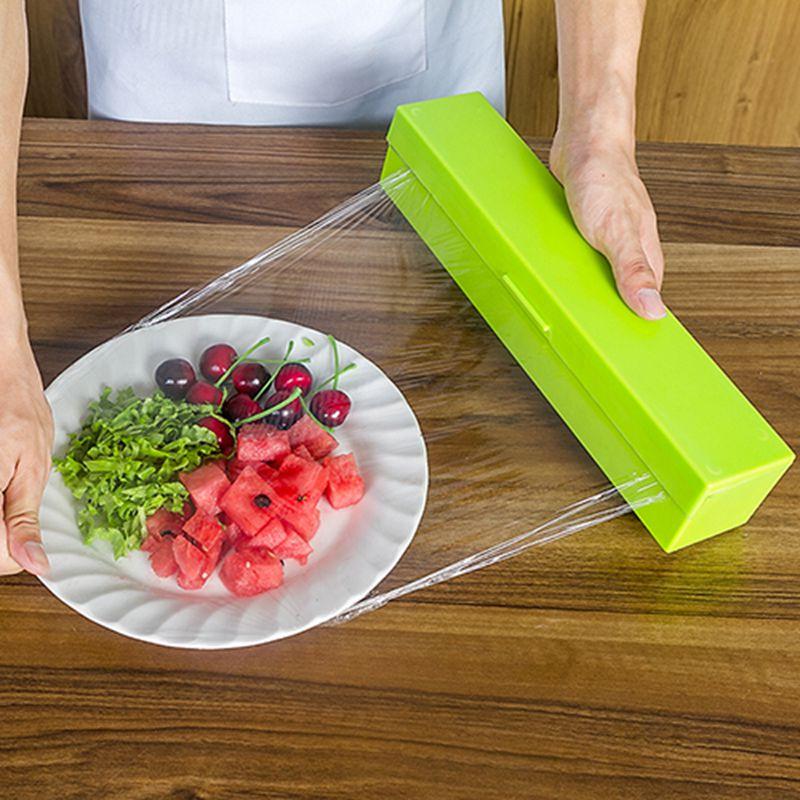 kitchen tool plastic food wrap cling film dispenser aluminum foil wax paper cutter cutting box. Black Bedroom Furniture Sets. Home Design Ideas