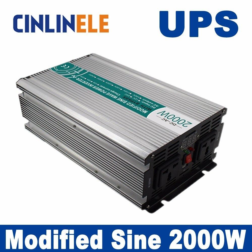 Universal inverter UPS+Charger 2000W Modified Sine Wav CLM2000 DC 12V 24V 48Vto AC 110V 220V 2000W Surge Power 4000W