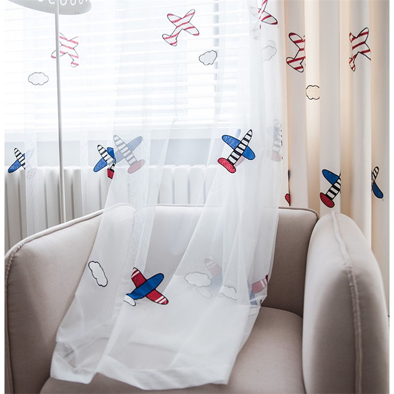 US $10.27 35% OFF|Children\'s Room Curtain Aircraft Embroidery Blackout  Curtains For Living Room Boy Girl Bedroom Window Drapes Blinds Tendel  161#3-in ...