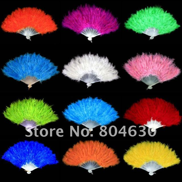 18pcslot colorful feather fan dance performer fan halloween party supplies mix color free shipping - Halloween Party Store