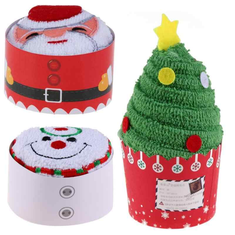 Cupcake Cotton Towels 2019 Merry Christmas Gifts Santa Xmas Tree Snowman Hand Towel Christmas Decoration For Home Shop 30x30cm