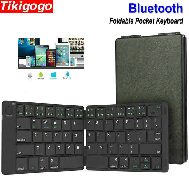 Tikigogo Portable Mini Folding Foldable Pocket Bluetooth Keyboard remote  control for ipad android phone tablet windows pc Laptop