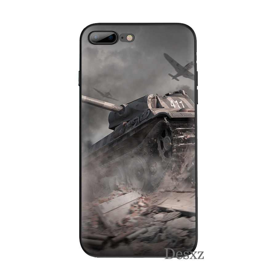 Kasus Ponsel Silikon TPU untuk iPhone 7 8 6 6 S Plus iPhone 11 Pro X XS Max XR 5 5 S SE Cover Dunia Tank Shell