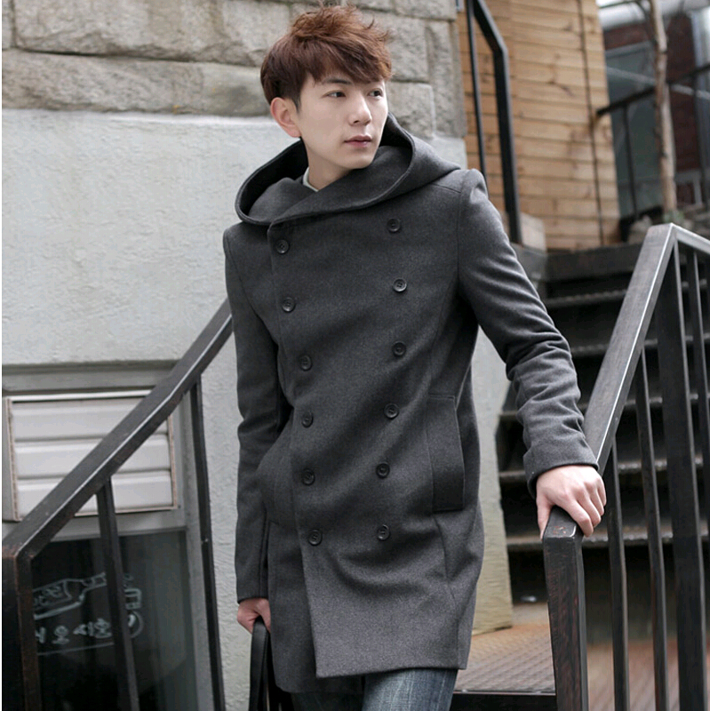 Men Overcoat,Grey Black Navy Blue 2016 Fashion Cheap Mens Pea Coat ...