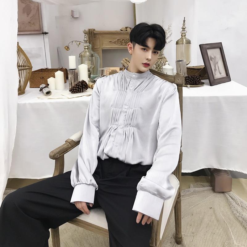 2019 printemps automne gris hommes hauts angleterre Style Court vêtements à manches longues chemise mince chemises de smoking modèles chanteur scène vêtements
