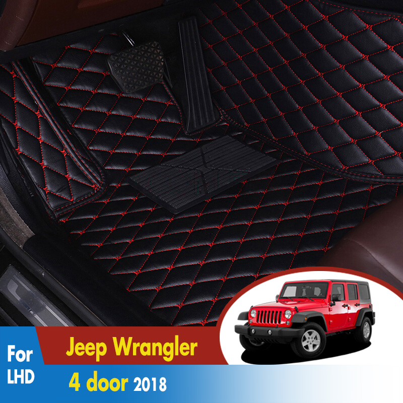 LHD Car Floor Mats For Jeep Wrangler 4 door 2018 Custom foot Pads automobile 3D carpet cover Car StylingLHD Car Floor Mats For Jeep Wrangler 4 door 2018 Custom foot Pads automobile 3D carpet cover Car Styling
