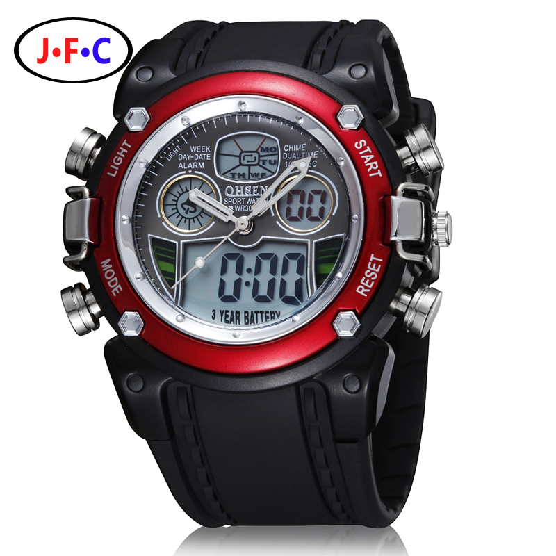 OHSEN Analog Digital LCD Dual Time Watch Reloj Hombre Relogios Masculino Waterproof Mens Boys Sport Watches