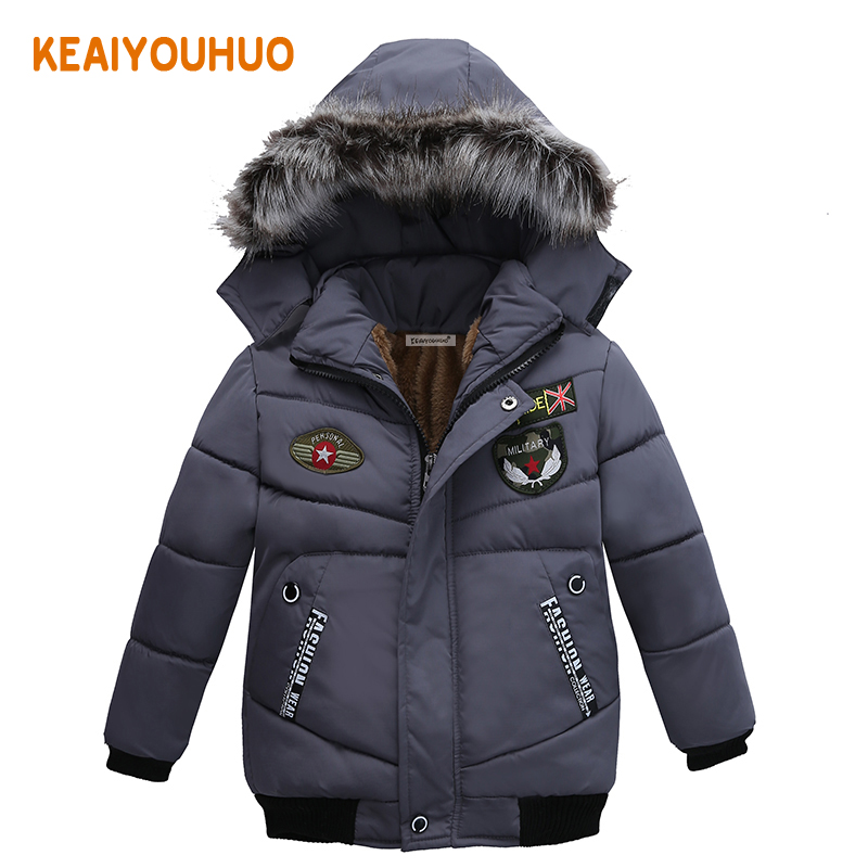 Baby Boys Jacket 2017 Winter Down Jacket For Boys Letter Print fashion Hooded Jacket Kids Warm Outerwear Coat Children Clothes