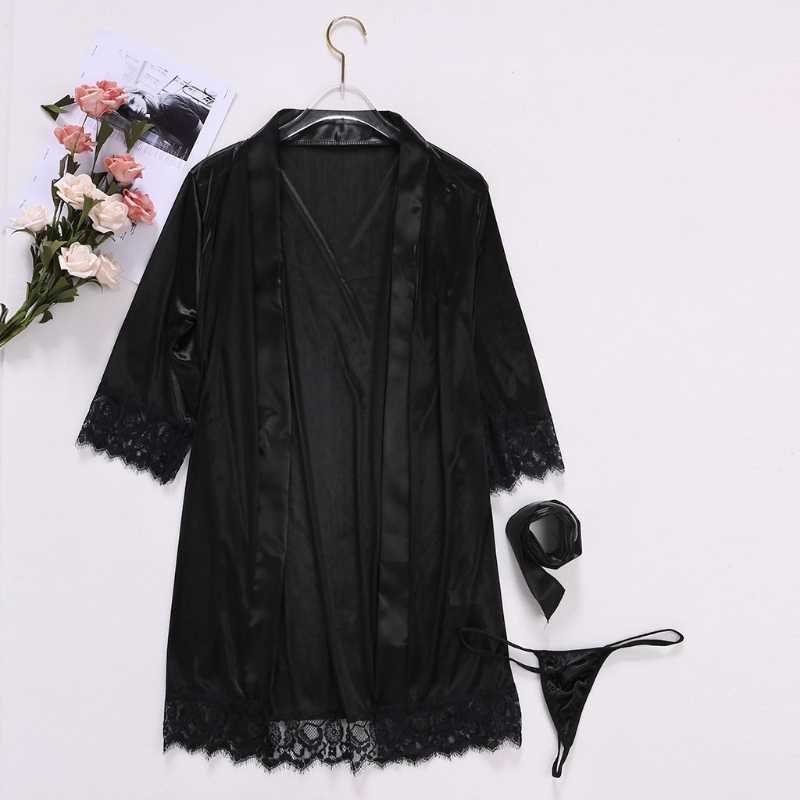 Mulheres Sexy Vestido de Noite Curto Noiva Robe de Seda Gelo Rendas Kimono Sleepwear Lingerie Camisola de Cor Sólida