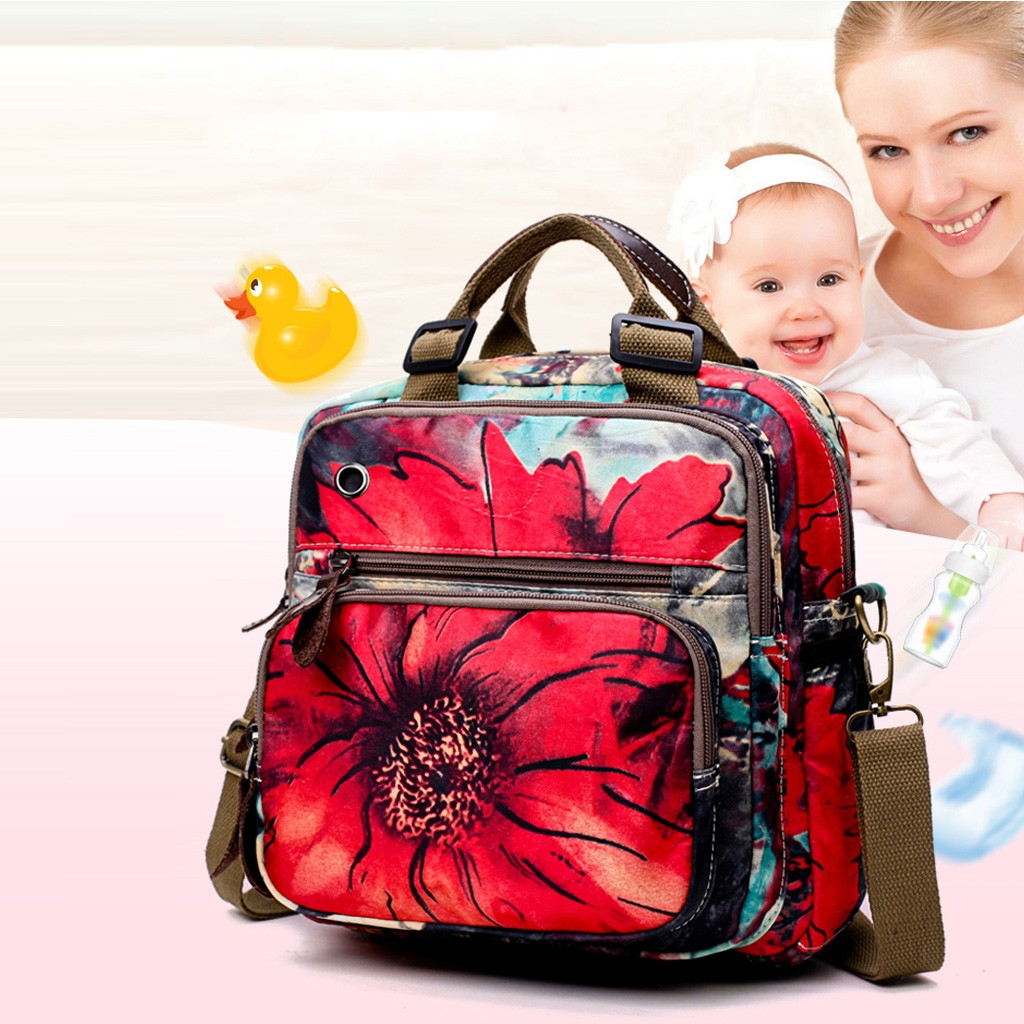 Multi-functional Large Mommy Bag Fashion Floral Diaper Bag Large Capacity Baby Bag Travel Backpack Brand Maternity For Mom