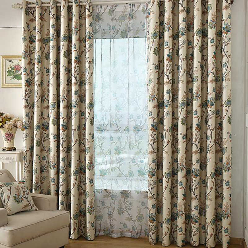 Blackout curtains for the bedroom Shade ready made Curtains with flowers Drapes Transparent Voile Tulle Curtains fabric WP357B