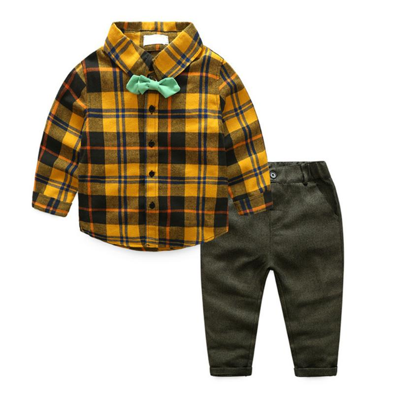 2pcs Baby Boys Casual Clothes Set Kids Fashional Design Plaid Shirt Tops + Cotton Soft Pants Outfits For Handsome Boys Gift 2pcs children outfit clothes kids baby girl off shoulder cotton ruffled sleeve tops striped t shirt blue denim jeans sunsuit set