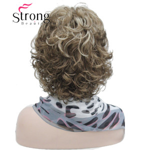 Image 5 - StrongBeauty Short Soft Shaggy Layered Full Synthetic Wig Brown Highlights Curly Womens Synthetic Wigs
