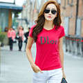 2016 Nova Moda Manga Curta Camisetas Plus Size Carta Feminino camisas de impressão T Top Diamantes camiseta O-pescoço Das Mulheres Europeia 71411