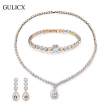 GULICX Cubic Zirconia Wedding Jewelry Sets For