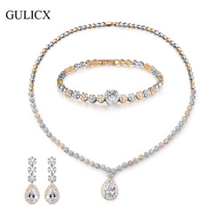 GULICX High Quality Cubic Zirconia Wedding Necklace + Earrings+ Bracelet Luxury Crystal Bridal Jewelry Sets For Bridesmail