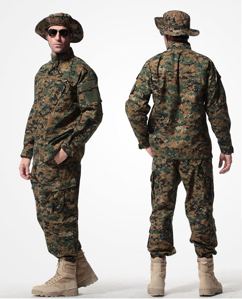 Men Hunting Combat Jackets Coat Cargo Pant Tactical Military Uniform Outdoor Camouflage Clothes Set men combat field shirt long cargo pant hunting airsoft ghillie suit camouflage clothes military bdu tactical uniform set