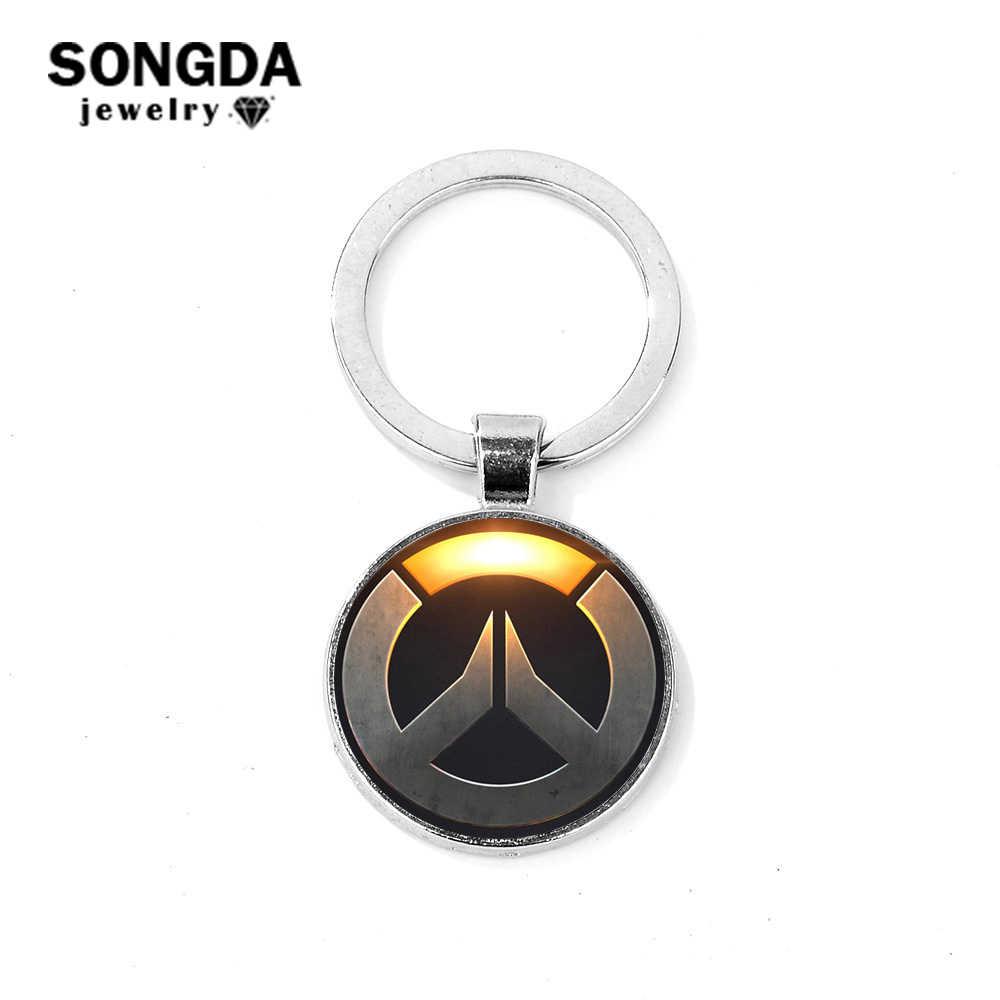 SONGDA стильный логотип Overwatch брелок простой OW серии Стеклянный кабошон металлический брелок для ключей автомобиля брелок для фанатов унисекс ювелирные изделия