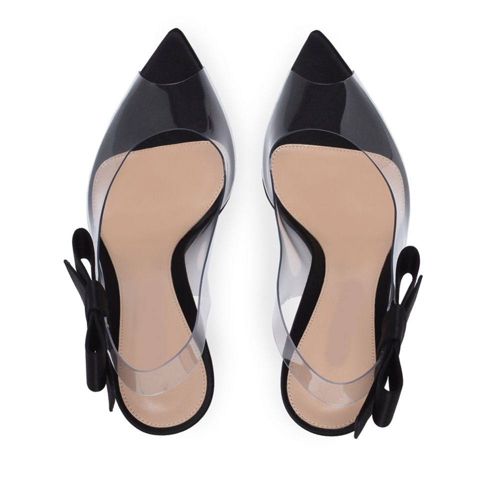 Newest Fashion PVC Transparent Leather Peep Toe Slip On Sandals Silver Butterfly Knot Decoration Back Strap High Thin Heel Shoes in High Heels from Shoes