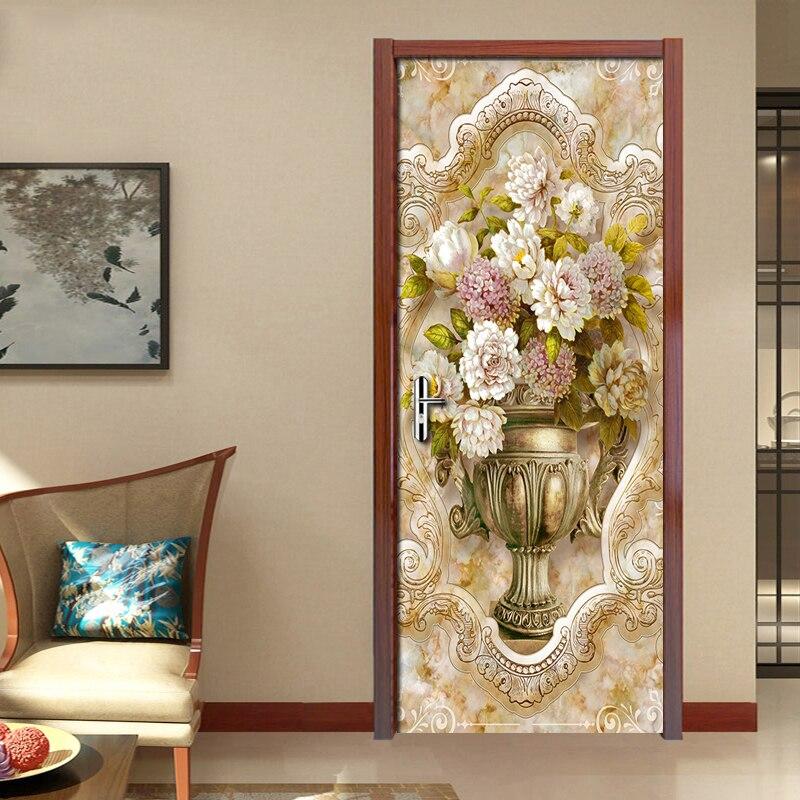 European Marble Pattern Vase DIY Door Sticker Living Room Bedroom Door Decoration Art Mural PVC Waterproof Door Wallpaper Fresco