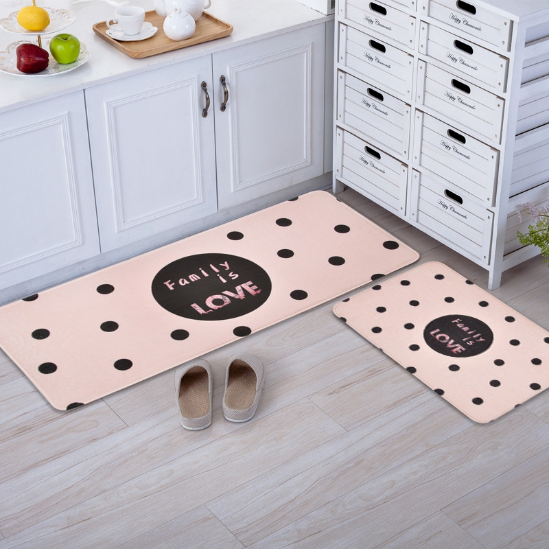 Kitchen Rectangle Mat Geometric Black Dots Print Kitchen Floor Mat Modern Doormat For Bathroom Living Room Anti-Slip Carpet Rug