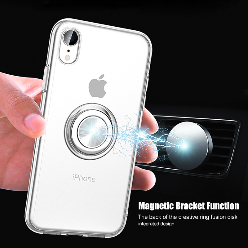 For <font><b>iPhone</b></font> X XS Max <font><b>Case</b></font> Transparent Luxury Magnetic Finger Ring Silicone Cover For <font><b>iPhone</b></font> 8 7 <font><b>6</b></font> s <font><b>Plus</b></font> XR Soft Ultra Thin Funda image