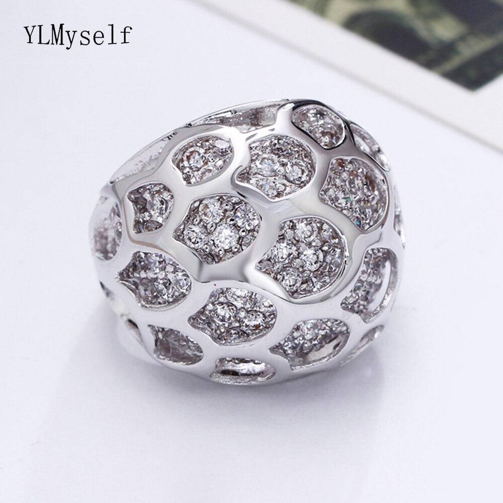 Nouveau grand anneau merveilleux bijoux couleur blanc et or zircon cubique cristal très rapidement expédition grands anneaux à la mode