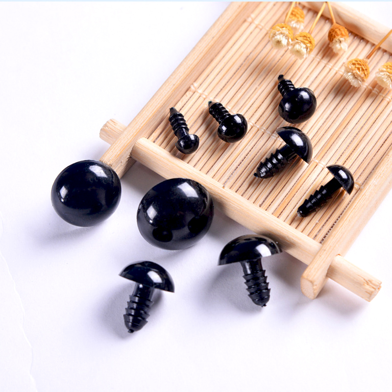 100pcs Black Plastic Doll Eyes Safety Eyes 6mm 8mm For Toys Teddy Bear Stuffed Toys Snap Animal Puppet Dolls Craft Eye Amigurumi