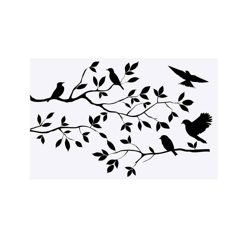 New 1pc black tree branch birds handcraft wall sticker for Black tree mural