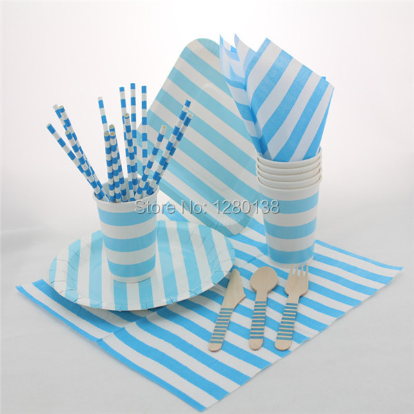 Disposable Paper Tableware Set Striped Paper PlatesCupsStrawsParty Supplies Striped Paper Napkins Wooden Forks Spoons Knives-in Event u0026 Party from Home ... & Disposable Paper Tableware Set Striped Paper PlatesCupsStraws ...