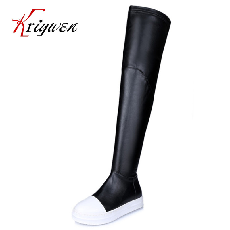 free shipping luxury designer genuine leather womens black color flat heel brand over knee boot knight ladies round toe boots