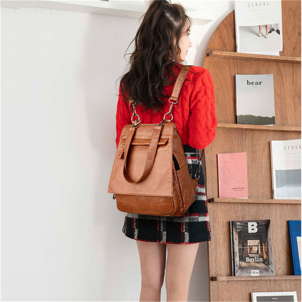 3-In-1 Women Leather Backpack For Teenage Girls Female Vintage Shoulder Bag Sac A Dos Femme Ladies Bagpack Mochila Feminina