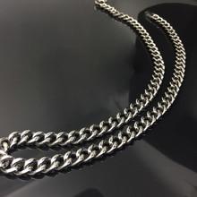 Pure titanium TA1 necklace casual denim chain custom length fashion accessories  custom size 9.5 mm*618 mm / 668 mm цена 2017