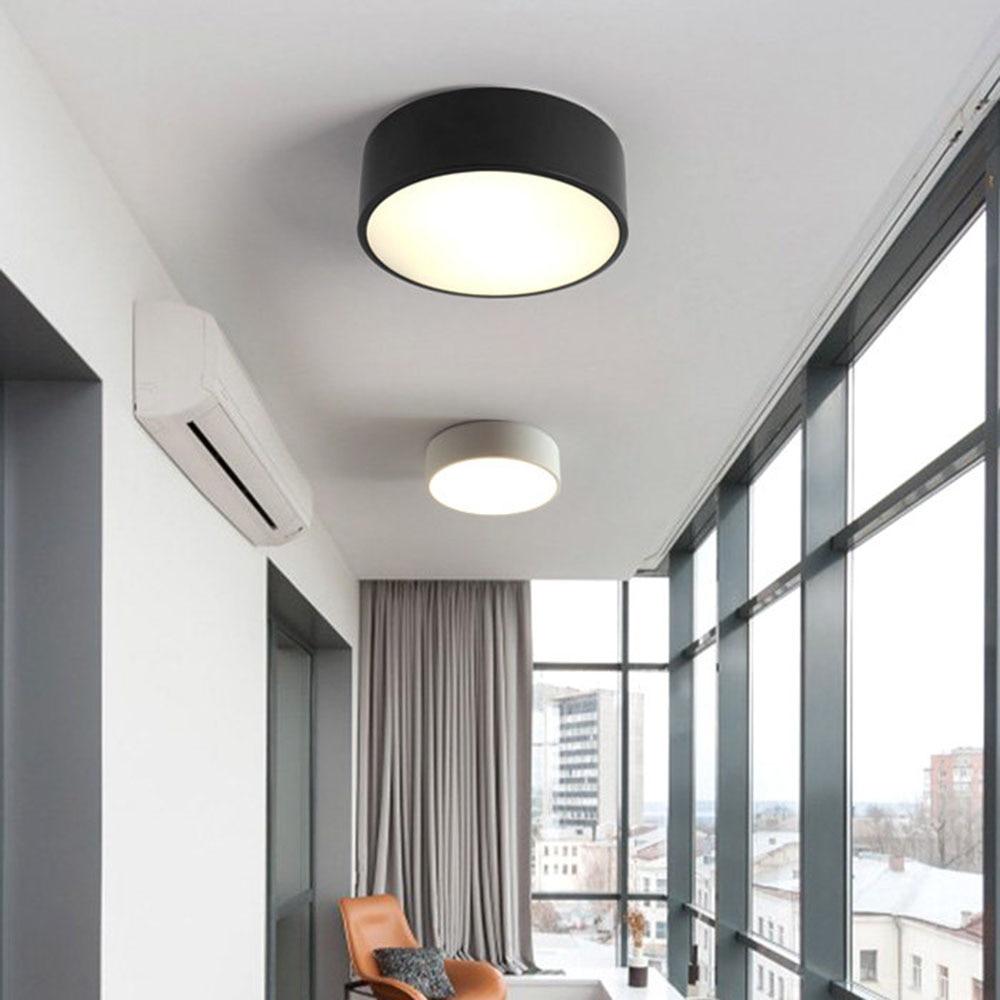 New White Black Round Modern Pendant Light Minimalist E27 Led Pendant Lamp Metal Living Room