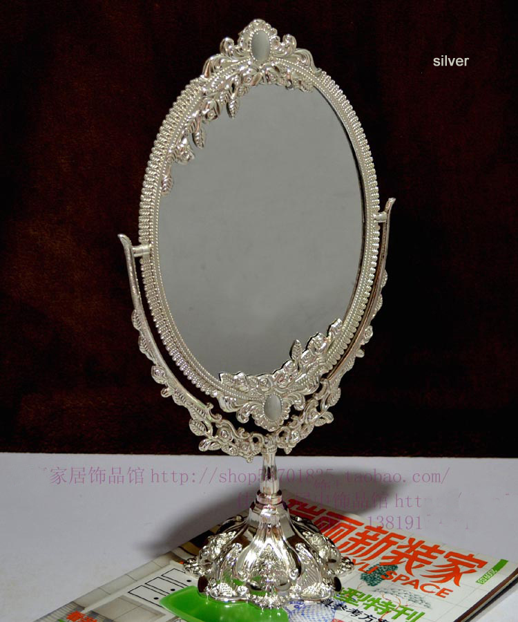 antique double face silver alloy metal makeup dressing