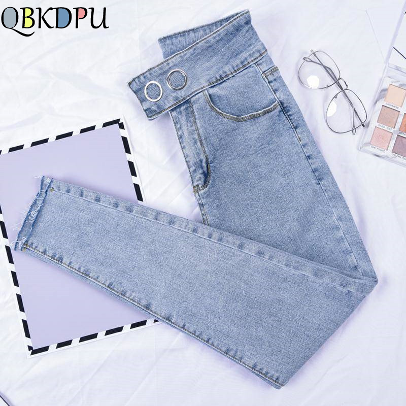 Skinny Stretch Jeans For Woman High Waist Plus Size Pencil Pants Retro Blue Denim Pants 2019 New Mom's Autumn Ankle Trousers