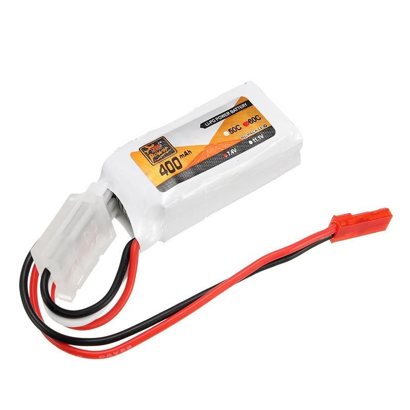 Rechargeable Lipo Battery ZOP Power 7.4V 400mAh 60C 2S Lipo Battery JST Plug вольтметр 50v 50a lifepo4 lipo tf01n