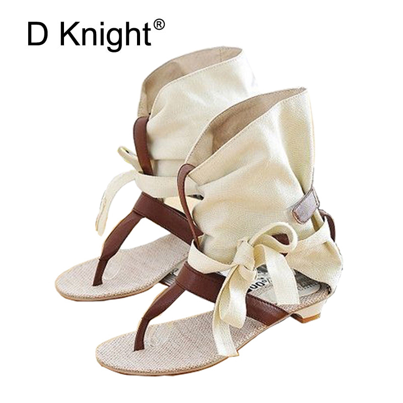Gladiator Sandals Women Summer Ankle Boots Flats With Ladies Canvas Shoes New 2018 Botas Mujer Woman Brand Casual Shoes Woman pioneer djs 1000