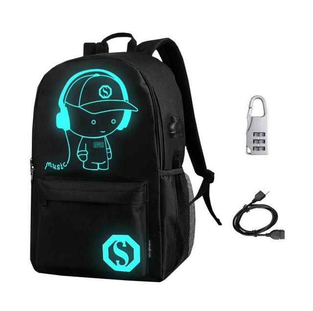 [Do Drop Shipping] Quality Luminous Animation School Bags for Girls Teenager Students Backpacks with USB charger+Anti-theft Lock | american girl doll
