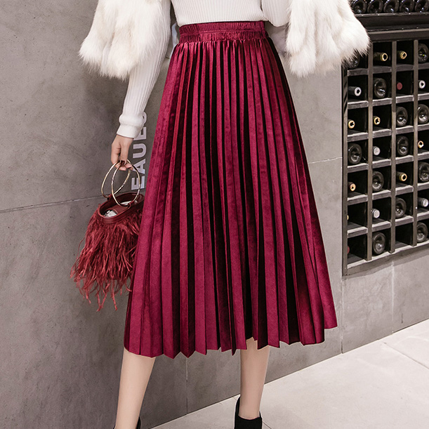 Velvet Large Swing Long Pleated Women Skirts Plus Size Skirts Faldas Saia Fashion Female Skirt Jupe