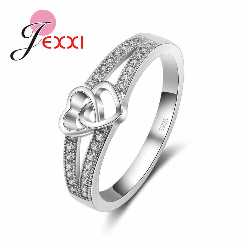 Double Love Heart Hollow Cross Fashion Rings For Women/Girls With Top Quality Cubic Zirconia 925 Sterling Silver Statement Ring